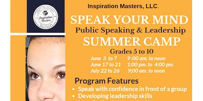 Speak Your Mind: Public Speaking and Leadership Summer Camp (June 3 to June 7) Plano