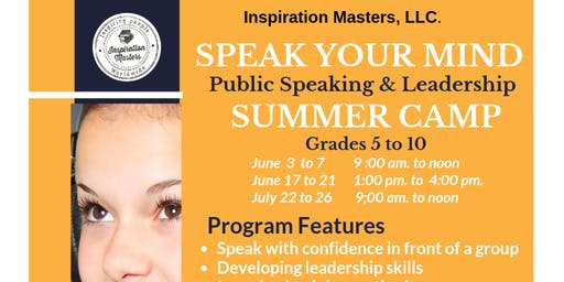 Speak Your Mind: Public Speaking and Leadership Summer Camp (June 24 to June 28)QD Plano
