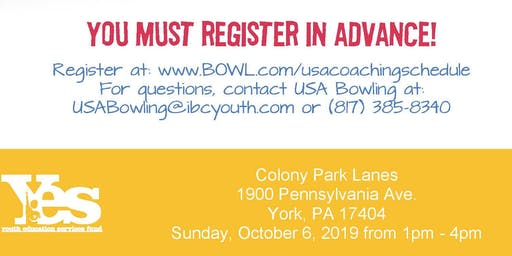 FREE USA Bowling Coach Certification Seminar - Colony Park Lanes, York, PA