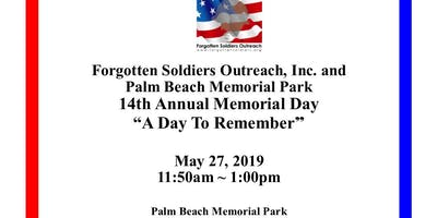 14th Annual Forgotten Soldiers Outreach Memorial Day Service