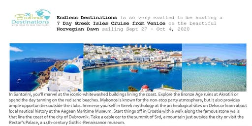 7 night Greek Isles Cruise - Sept 2020