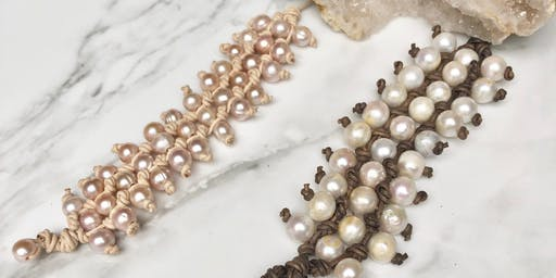 Pearl and Leather: 3-Row Stack Bracelet