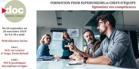Optimisez vos compétences - Formation pour Superviseurs et Chefs d'équipe tickets