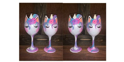 Unicorn Wine Glass Painting and Dinner - Collingswood Pop Shop