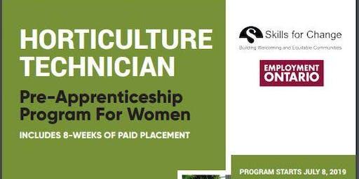 Horticulture Technician Pre-Apprenticeship Program for Women - Info Session