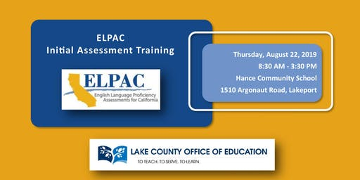 8/22/19 ELPAC Initial Assessment Training
