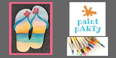 Paint'N'Sip Wood Sign- Beach Sunset Flip Flops - $45pp
