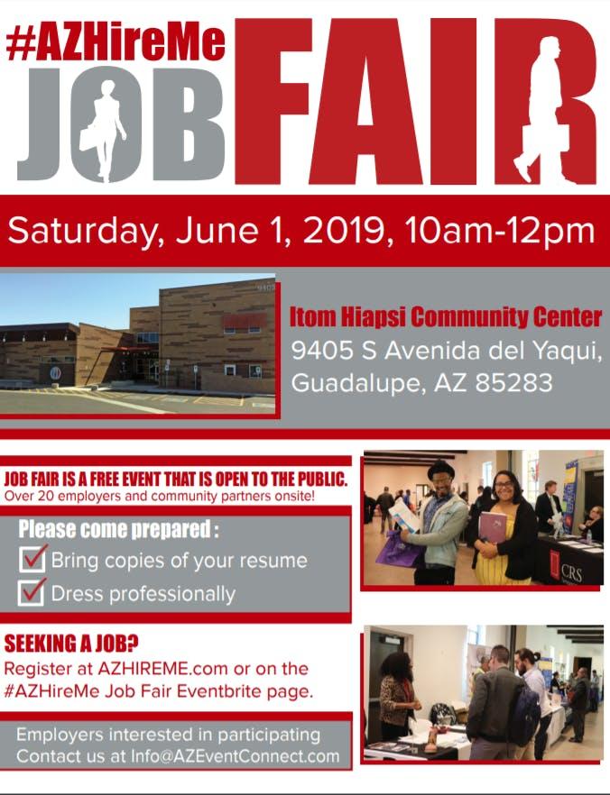 #AZ Hire Me Job Fair  Meet in person with hiring companies  June 1, 2019