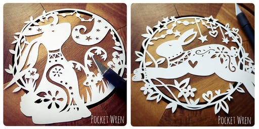 Paper cut Moon Gazing Hares