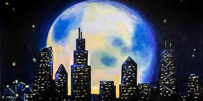 """Moon over Chicago"" Wine and Paint"
