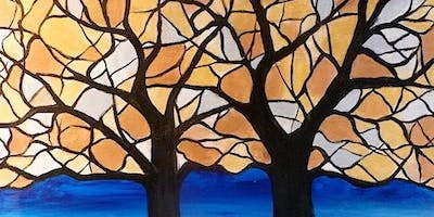 """Stained Glass Trees"" Acrylic Painting Class 5/22"