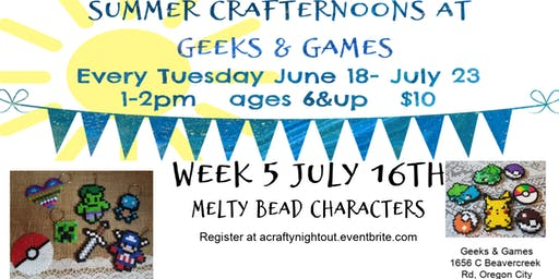 Oregon City Summer Crafternoons Week 5 Melty Bead Characters
