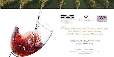 Wine Dinner at Brasserie 9 with Villa Maria Wines