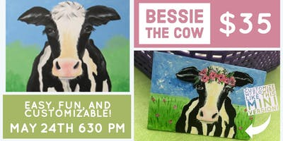 Floral Bessie the Cow Canvas Painting