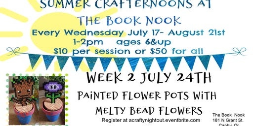 Canby Summer Crafternoons Week 2 Painted Flower Pots with Melty Bead Flowers