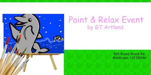 Dolphin Paint Design Paint Class BYOB