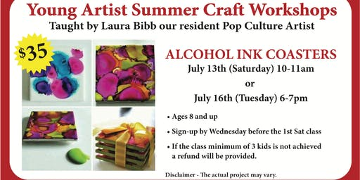 Young Artist Summer Craft Workshops - Alcohol Ink Coasters
