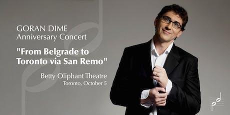 From Belgrade to Toronto via San Remo tickets