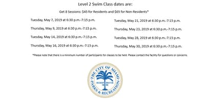Shenandoah Pool Level 2 Swim Class Tuesday/Thursday (6:30 p.m.-7:15 p.m.)