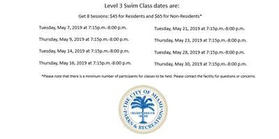 Shenandoah Pool Level 3 Swim Class Tuesday/Thursday (7:15 p.m.-8:00 p.m.)