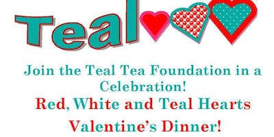 Red White & Teal Hearts Valentine's Dinner