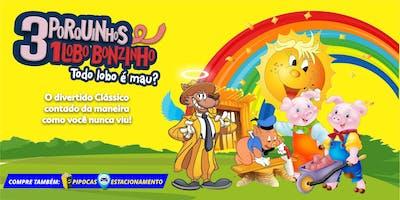 """DESCONTO! Espetáculo Infantil: """"Três Porquinhos, um Lobo Bonzinho"""" no Teatro BTC"""