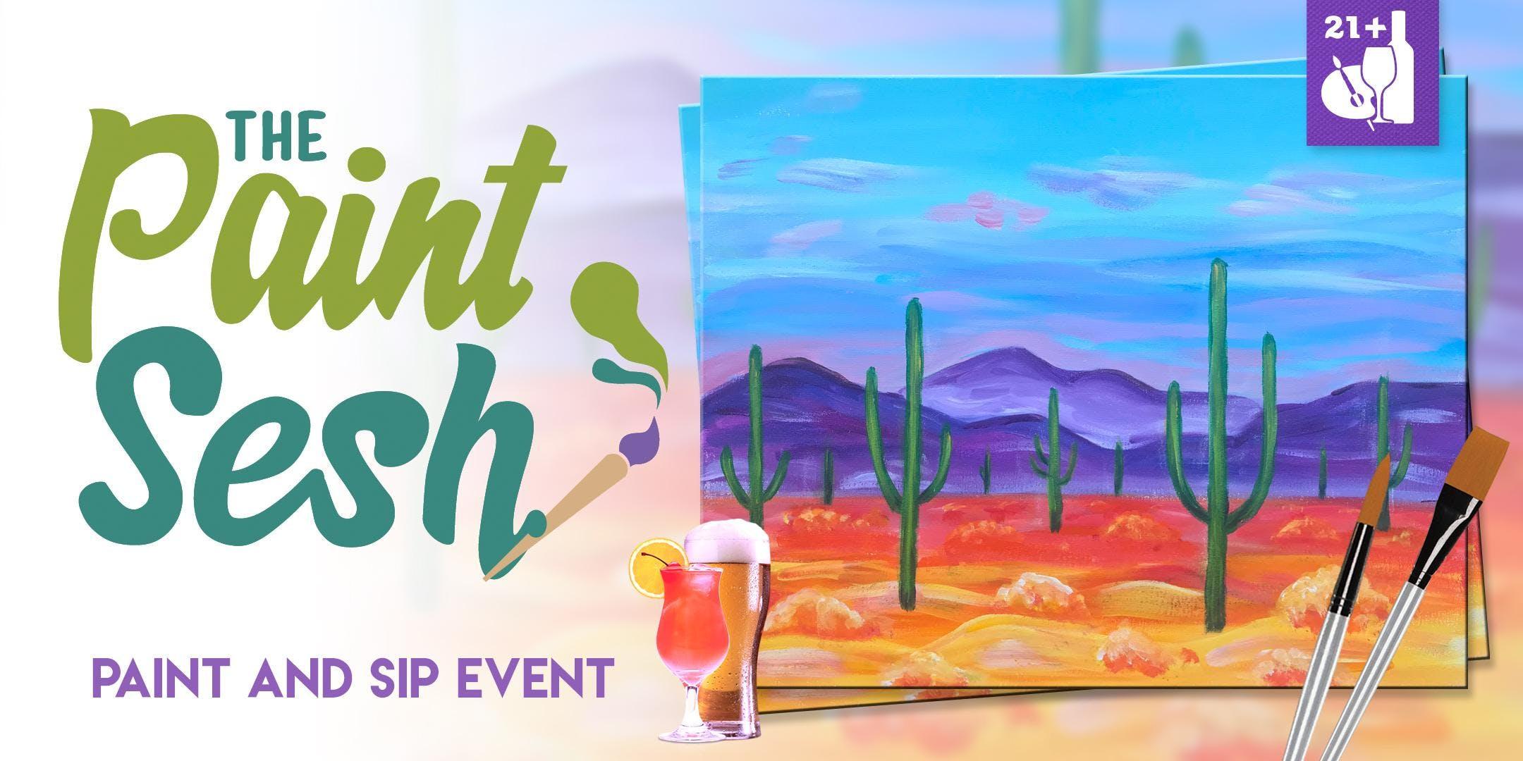"Paint night in Seal Beach, CA – ""Saguaro Sunrise"""