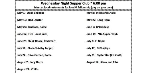 SR Adult Wednesday Night Supper Club