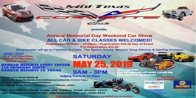 "Mid Texas Corvette Club Annual ""Memorial Day Weekend Car Show"" 2019"
