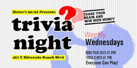 Weekly Trivia Night!! at Slater's 50/50 tickets