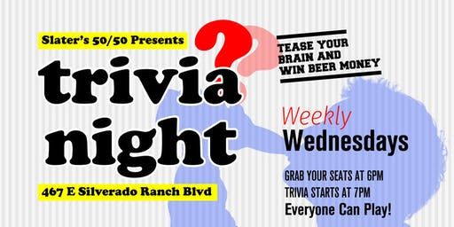 Weekly Trivia Night!! at Slater's 50/50