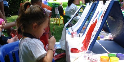 Kid Paint Party on Canvas with Painted Ivy