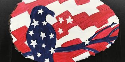 """Adult Open Paint (18yrs+) """"Patriotic Pride"""" Wood Slice"""