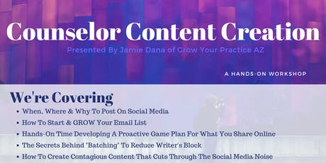Counselor Content Creation tickets