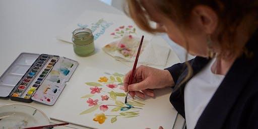 Florales Watercolor Workshop - mit Pinselschrift