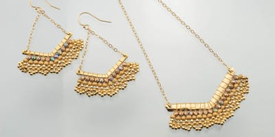 Brick & Peyote Stitched Earrings and Pendant - Jewelry Making