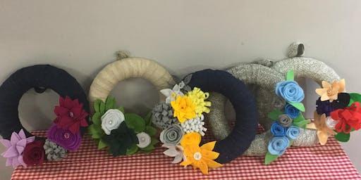 Spring/summer felt flower wreath with refreshments, East Yorkshire