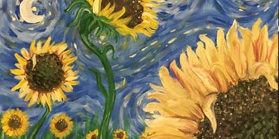"Paint ""Sunflowers on a Starry Night"" at BottleTaps!"