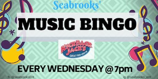 SEABROOKS' MUSIC BINGO! Free, Awesome Music, Dope Prizes KICKBACK JACKS:))