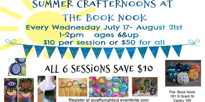 Book Nook Summer Crafternoons All 6 Weeks $10 discount
