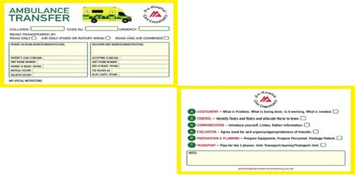 Ambulance Transfer and Retrieval Pocket Checklist Card