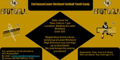 2nd Annual Lower Richland Football Youth Camp
