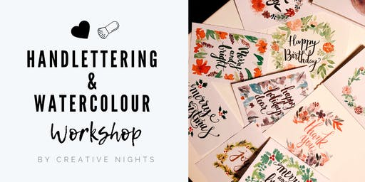Handlettering and Watercolour Card Making Workshop - Creative Nights