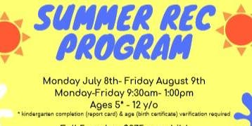2019 Summer Recreation Program