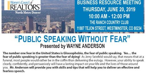 Public Speaking Without Fear Presented by Wayne Anderson