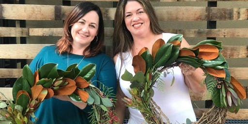 Rustic Harvest Wreaths at the Library