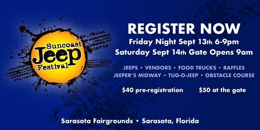 Suncoast Jeep Festival Pre-Registration (Tickets available at the gate - Eventbrite)