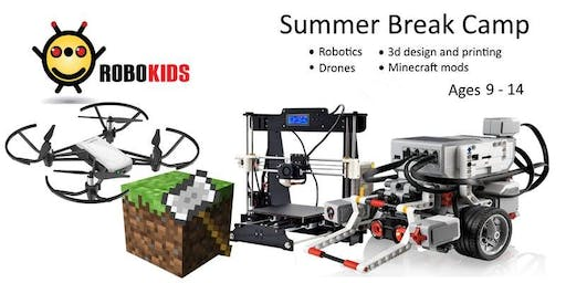 (Ages 9-14)  Whole day Summer camp: Ev3 Robotics, Minecraft, Drones, and 3D Design