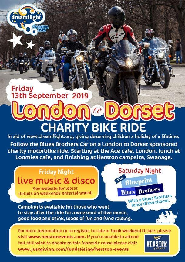 Dreamflight Charity Motorbike Ride London Ace Cafe to Swanage Dorset