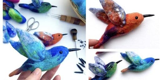 Felted Hummingbird Workshop, July 21, 2019